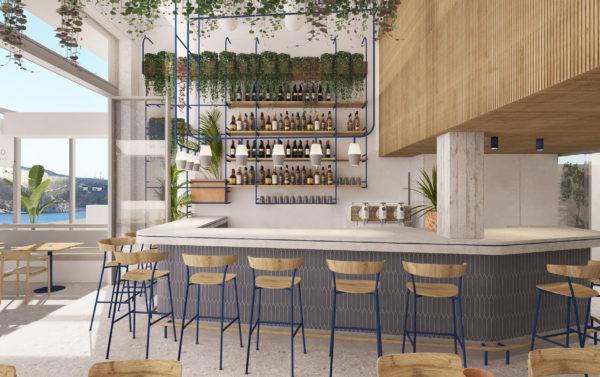 restaurant bar with greek island style